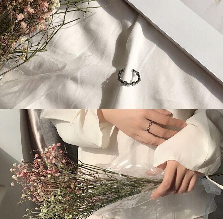 优雅简单微镶锆石蛋白石食指戒指日韩潮人开口指环尾戒女饰品J041
