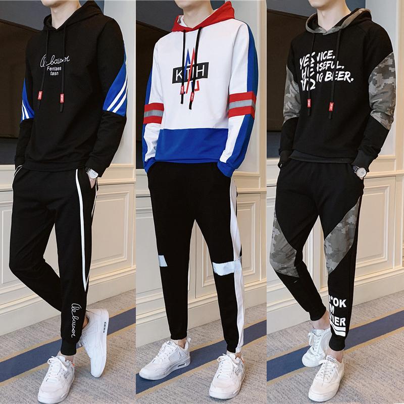 秋季休闲运动卫衣套装男装2020年新款秋装青少年初中学生一身衣服