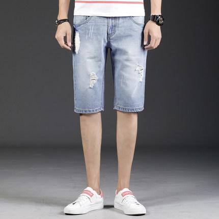 弹力牛仔短裤潮夏季破洞5分牛仔裤