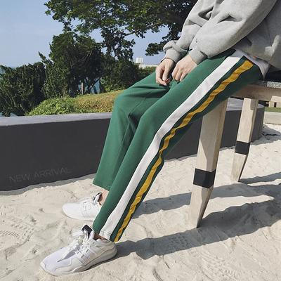 男士运动裤春秋季休闲长裤子直筒撞色卫裤条纹跑步裤DS11TP45