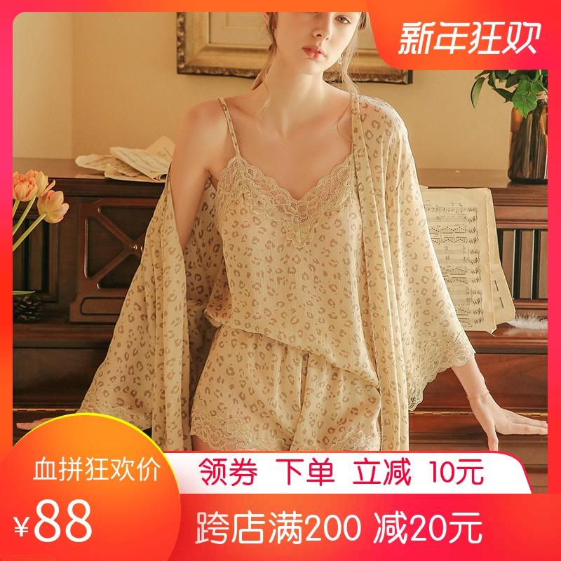 丝绸夏季三件套装豹纹蕾丝性感睡衣