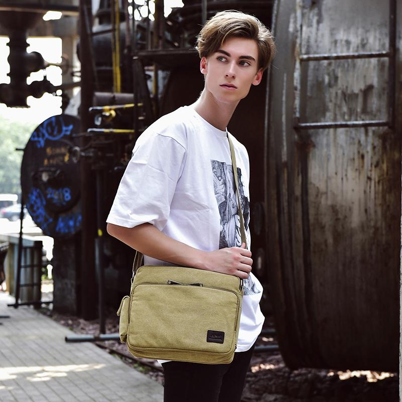 Mens messenger bag single shoulder bag multi functional canvas bag mens bag business mens bag Korean leisure college retro bag