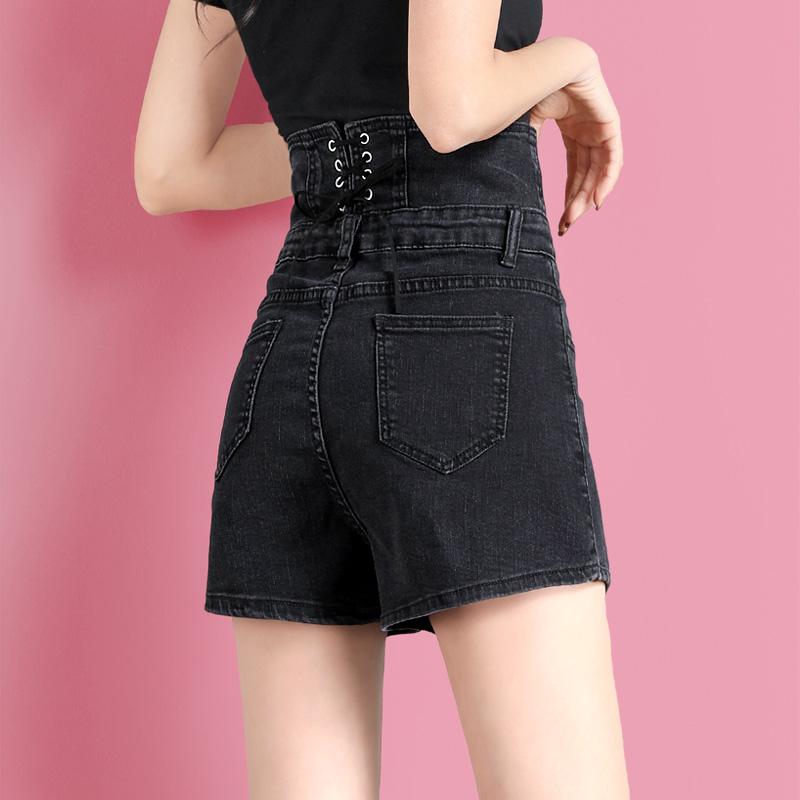 黑色牛仔短裤女超高腰网红显瘦2021年夏季新款a字裤子女宽松直筒