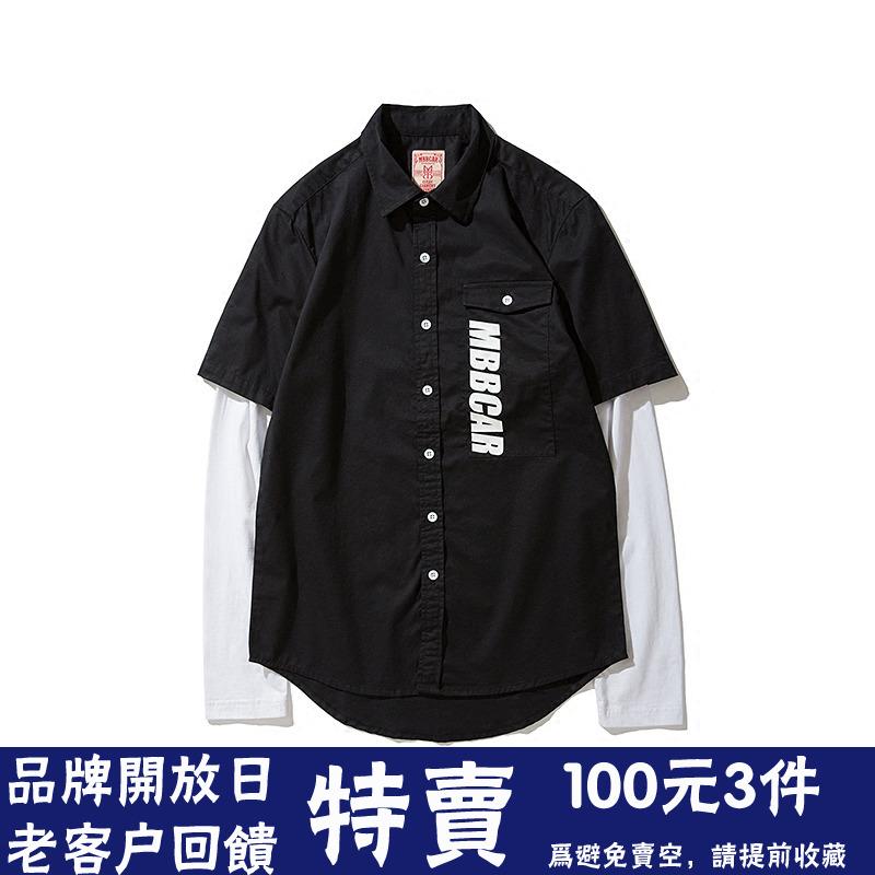 针织假两件 Mbbcar原创设计美式复古斜纹衬衫欧美英伦摩登衬衣男