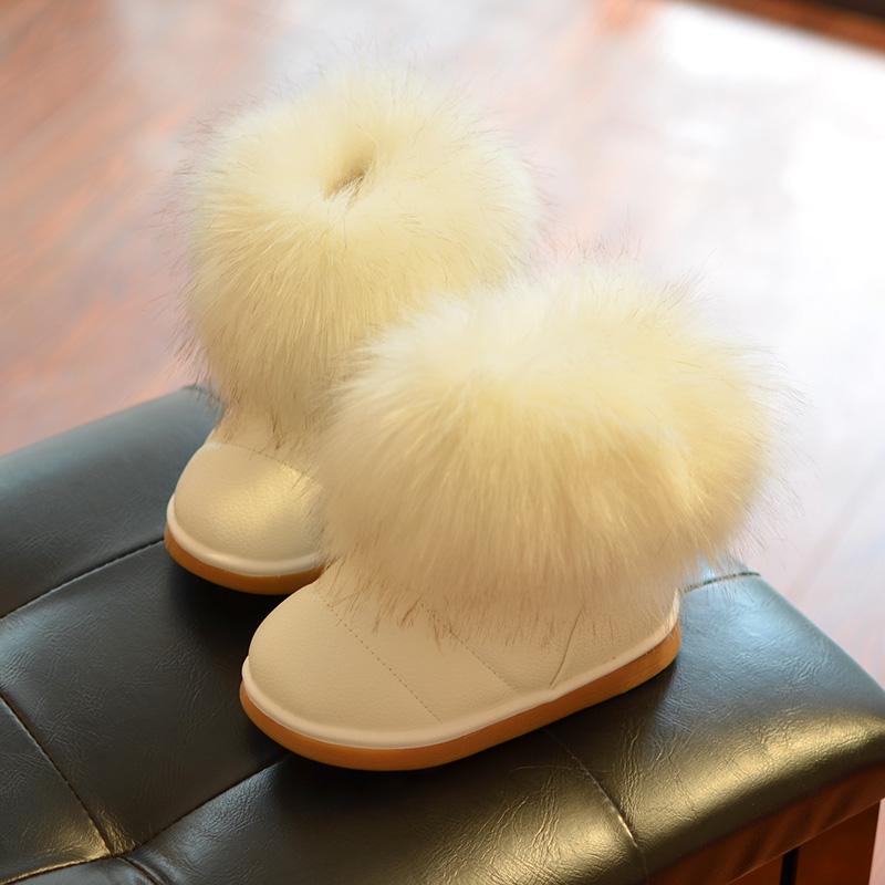 2017新款女童雪地靴冬季毛毛靴短靴中大童加厚防水公主棉鞋加绒潮