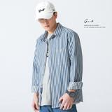 GWIT 重磅陆地棉 春秋新款竖条纹宽松长袖衬衣外套寸衫休闲衬衫男
