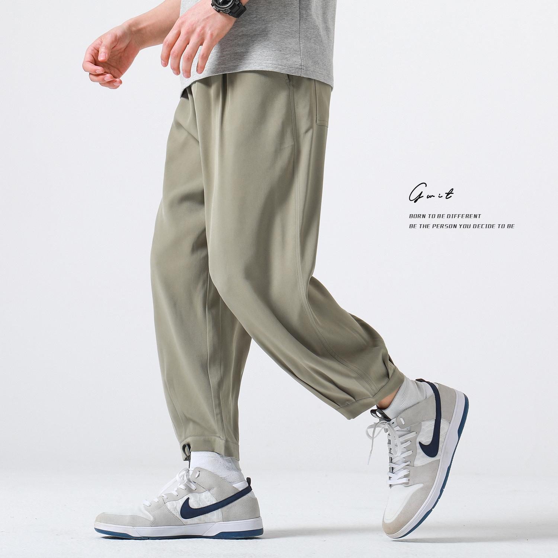 夏季轻薄新款宽松哈伦小脚直筒休闲九分裤男DacronGWIT垂顺后整