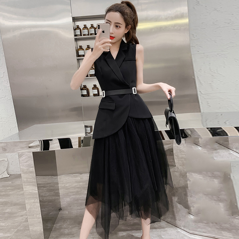European goods 2019 summer new suit skirt is thin and fragrant, suit vest mesh skirt temperament two-piece set