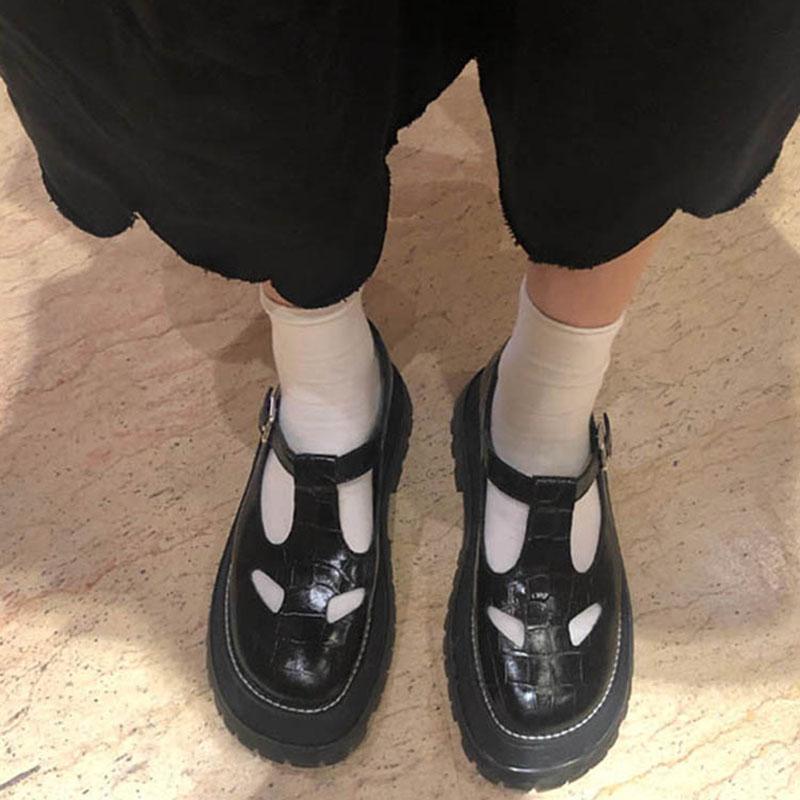 阿希哥同款2019夏季镂空女鞋一字扣复古玛丽珍鞋厚底英伦风小皮鞋