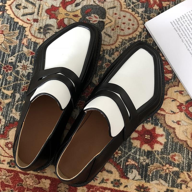欧美拼色小皮鞋女网红MONA同款19新款复古百搭平底乐福鞋低帮单鞋