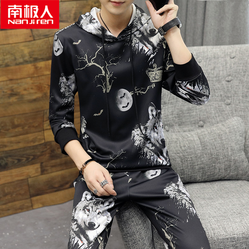 Antarctic mens personality suit autumn cool sweater suit underworld flower tattoo handsome long sleeve T-shirt