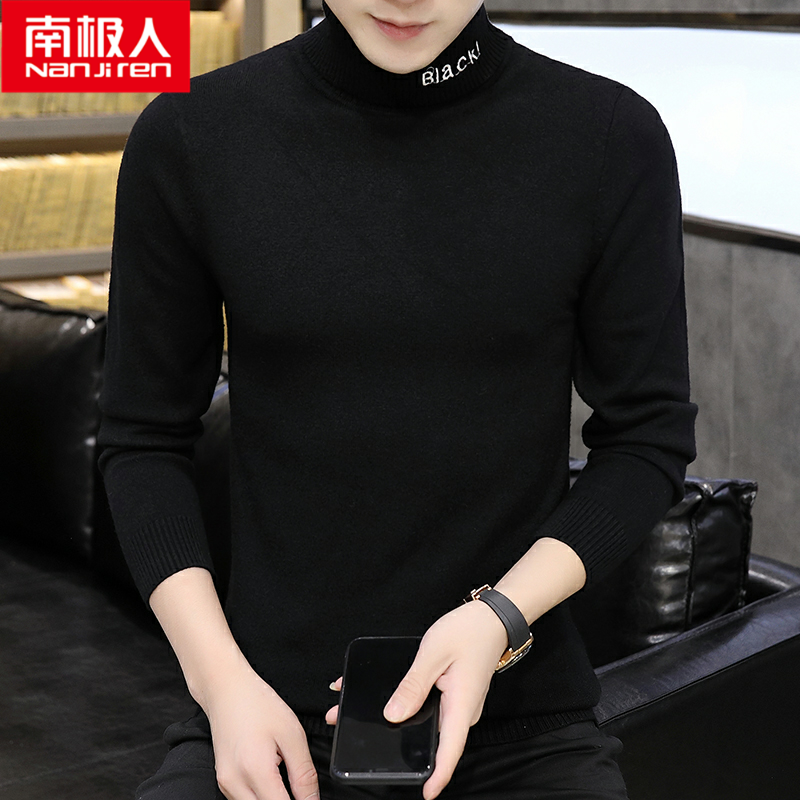 Social spirit of the South Pole male model personality high collar sweater tight hairdresser collar long collar warm bottom