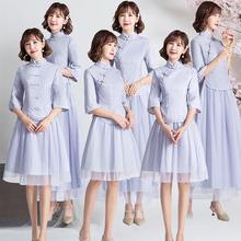 旗袍改良版 伴娘礼服女复古中国风2019新款 冬季 姐妹裙 中式 特别个性