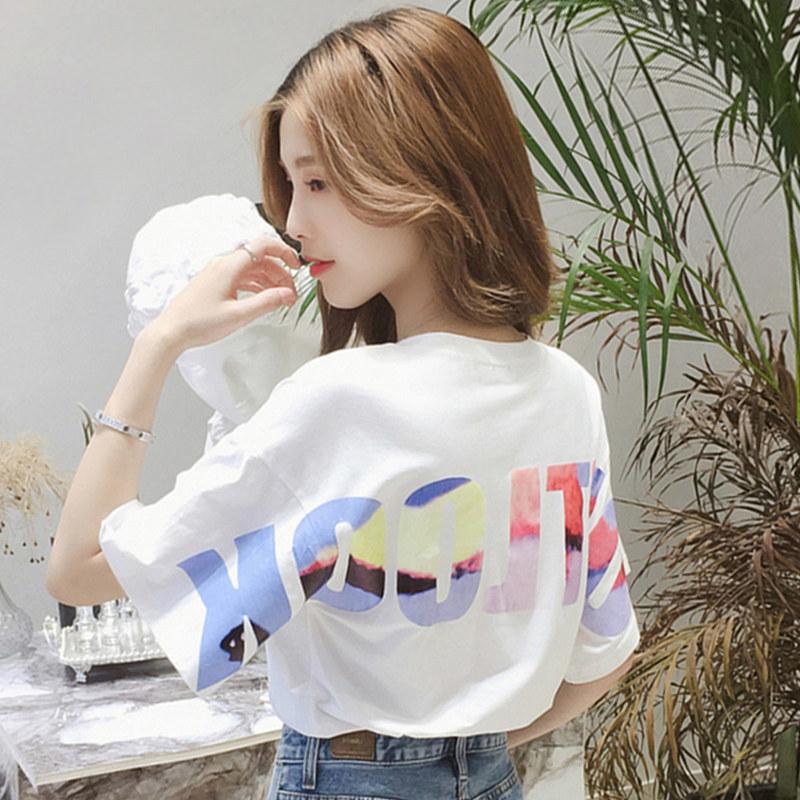 中國代購|中國批發-ibuy99|女裝|2020夏季新款休闲前后字母印花短袖T恤韩版宽松圆领学生上衣女装