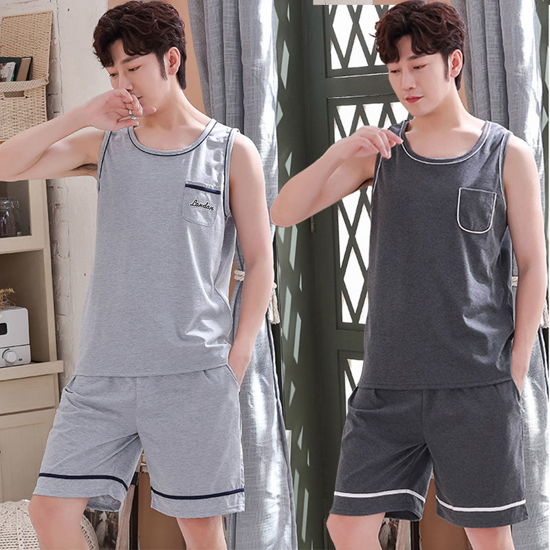 Mens pajamas summer cotton suit mens ultra-thin loose oversized sleeveless vest home clothes can be worn out