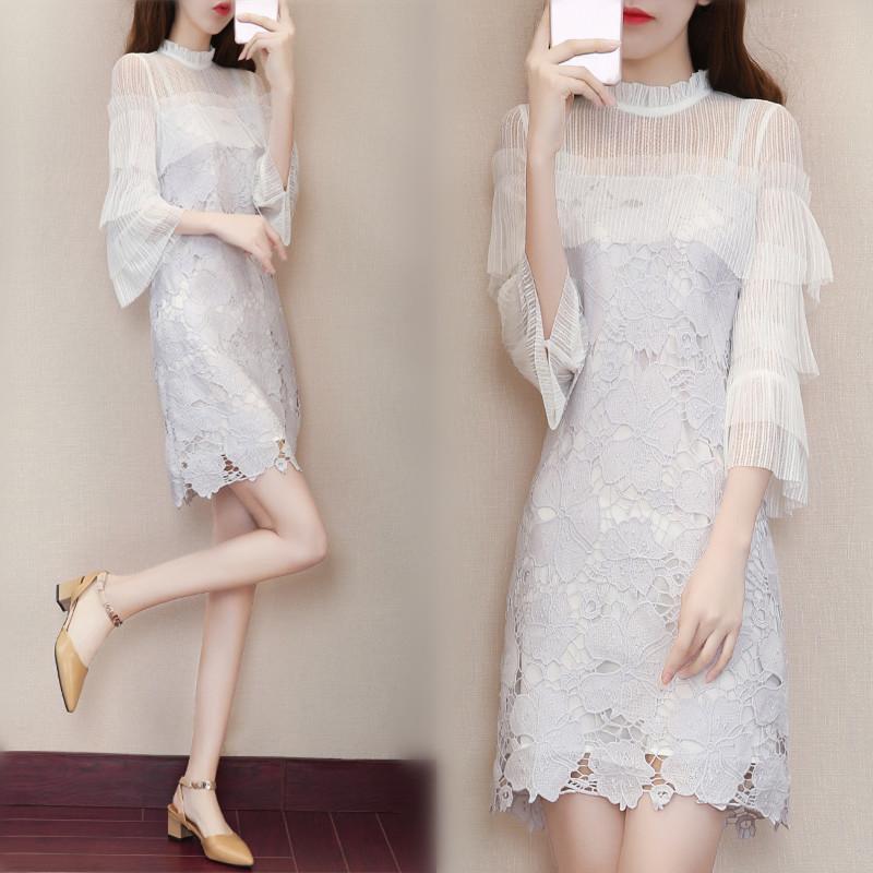 23裙子夏季新款女韩版修身七分袖蕾丝连衣裙温柔小清新仙女裙春