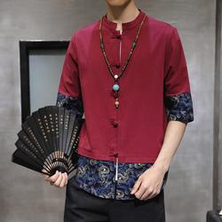 C931中国风棉麻盘扣短袖衬衫夏季立领拼色五分袖衬衣314A-1  P40