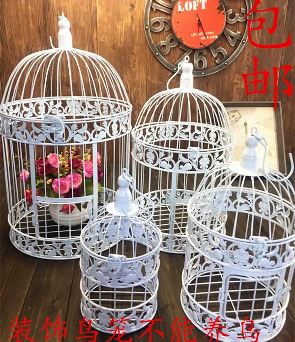 欧式铁艺装饰鸟笼 橱窗摆件 白色摄影道具 大型号酒店婚庆鸟笼