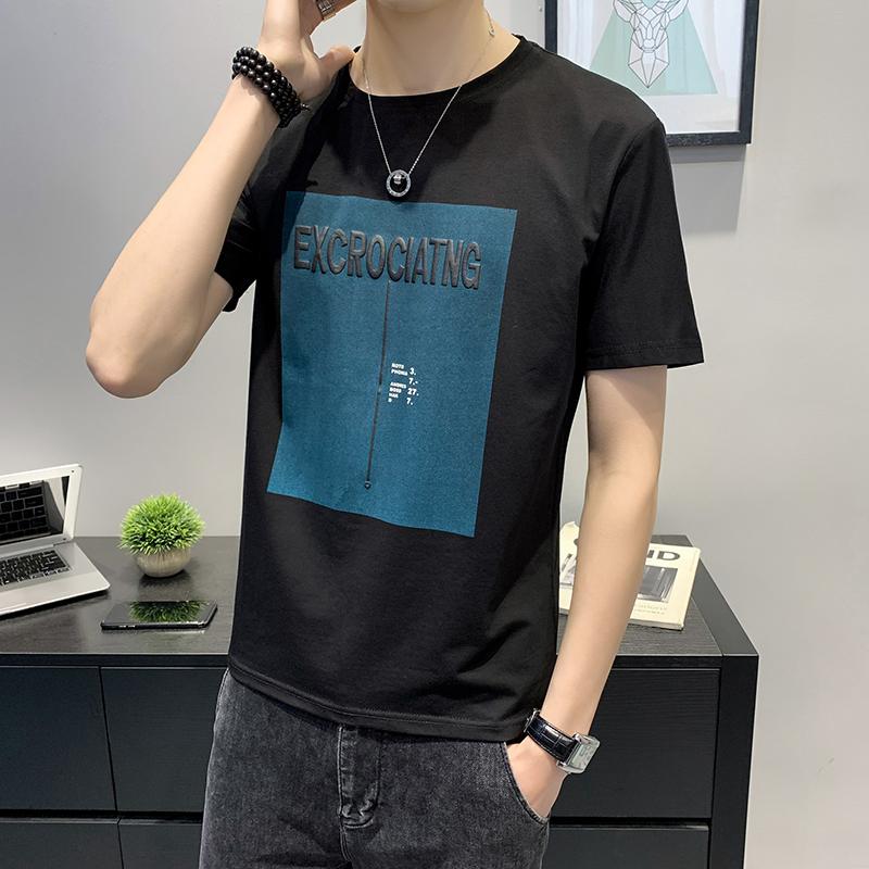 冰瓷純棉T恤男半袖夏季新款短袖t恤男士上衣服夏裝韓版潮流ins
