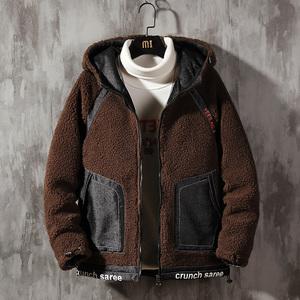 冬裝棉衣連帽加絨加厚男士寬松保暖羊羔絨工裝外套冬季棉服男棉襖