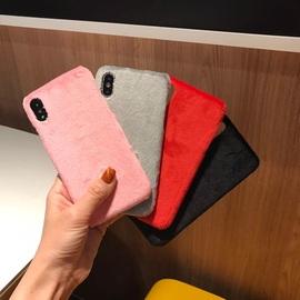 毛毛绒适用于iphone x手机壳个性纯色苹果6s/7plus硬壳情侣8p秋冬图片