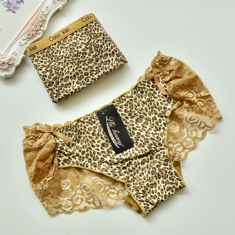 Bag mail Sexy Leopard Print modal fabric is softer than pure cotton mens flat angle womens triangle lace couple underwear