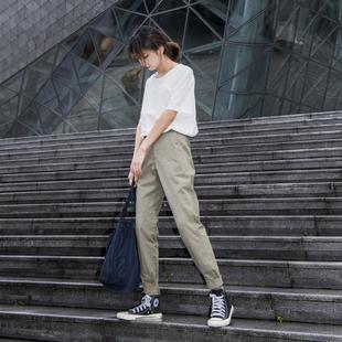 珍妮空間站工裝褲女帥氣夏季寬鬆休閒百搭顯瘦褲子小腳束腳褲縮腳