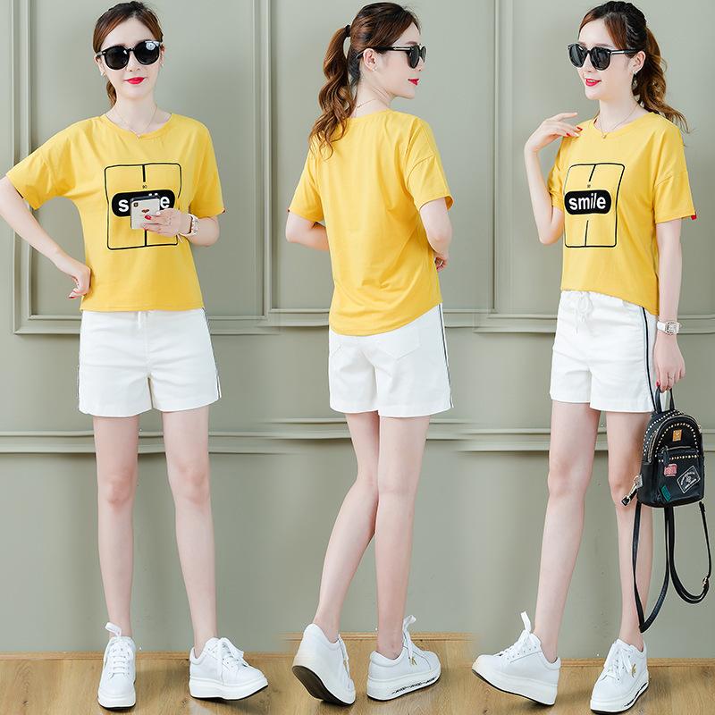 俏皮套装2018新款韩版时尚宽松小清新上衣休闲短裤两件套夏装女装