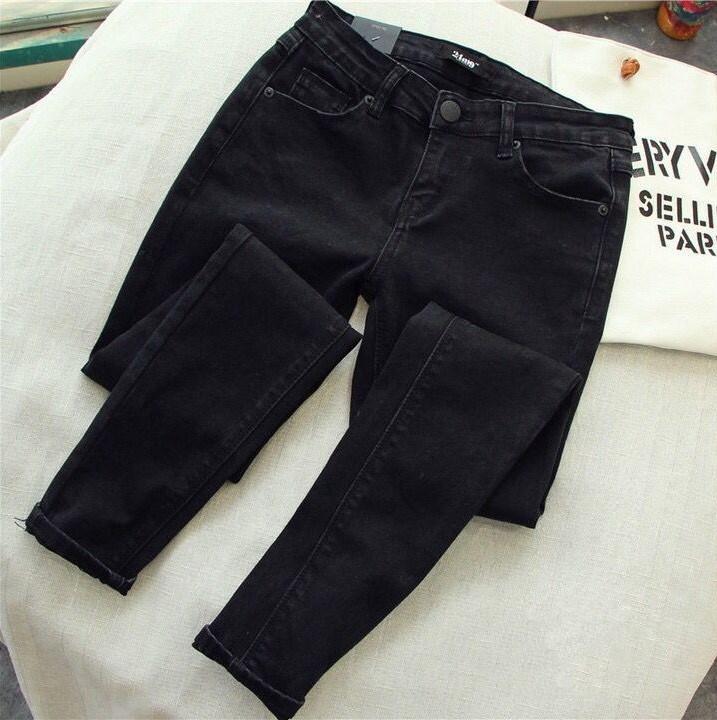 200斤秋装牛仔裤胖妹妹加肥加大码女装韩版高腰显瘦弹力小脚长裤