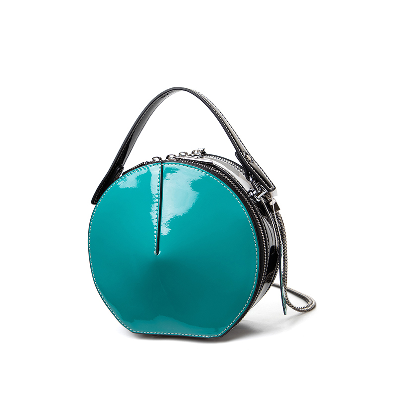 Leather small round bag 2019 new womens bag fashion trend round bag portable diagonal straddle single shoulder bag Patent Leather Mini