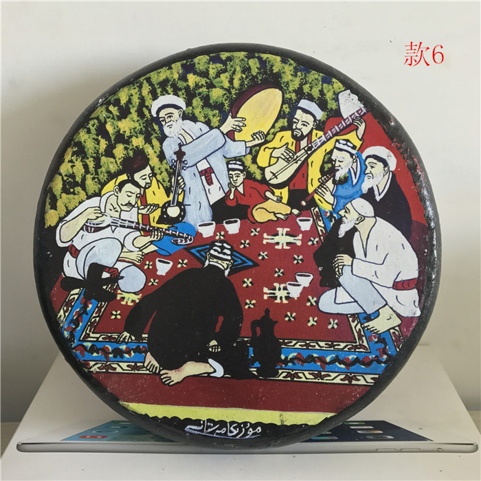 Новый Синьцзян-уйгур ручная работа Национальный бубенский музыкальный инструмент кожаный цвет Лакокрасочная плита