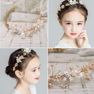 新款兒童頭飾手工珍珠髮箍公主唯美皇冠花環女童演出拍照寫真配飾