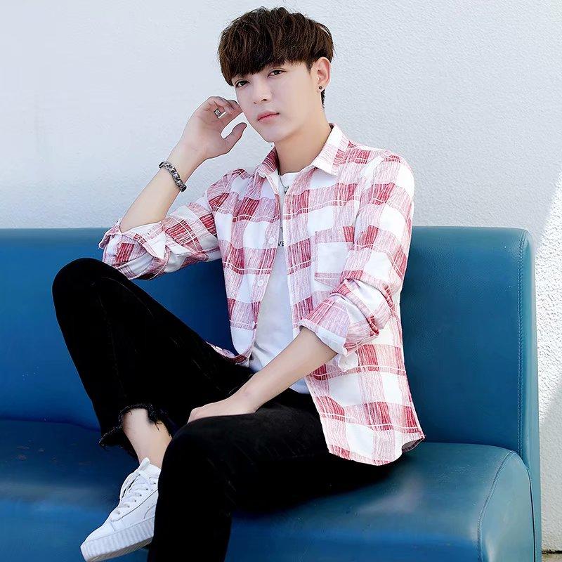 Plaid shirt man 2020 new long sleeve Korean version ins casual mens shirt coat fashion Hong Kong Style inch shirt man