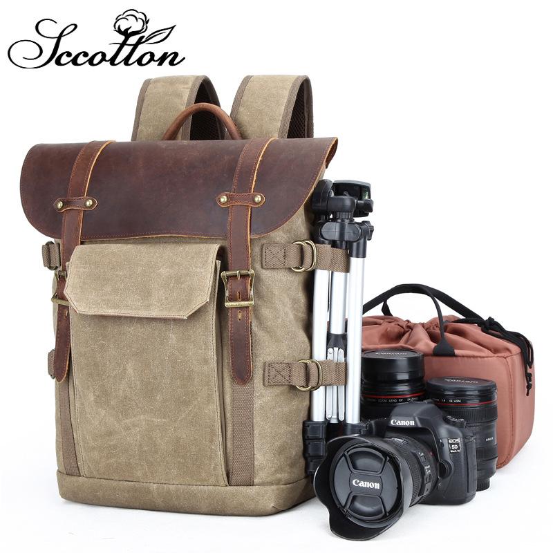 双肩摄影包 单反相机包防水蜡染帆布复古时尚数码相机背包