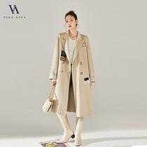 2020秋冬新品中长款西装领双排扣100羊毛双面呢大衣Y20Y01257