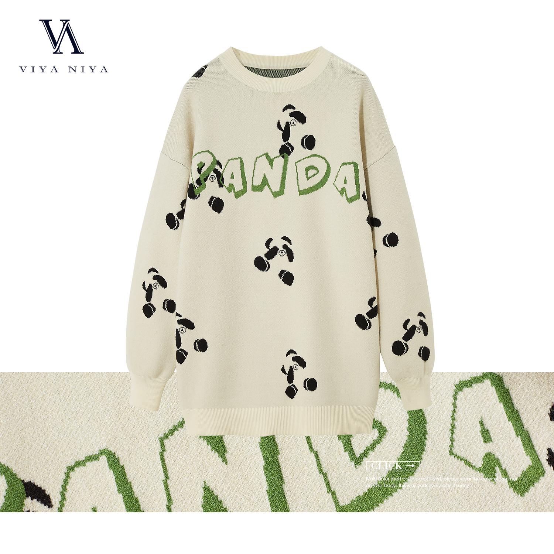 【熊猫毛衣】熊猫款圆领百搭毛衣V20MY083