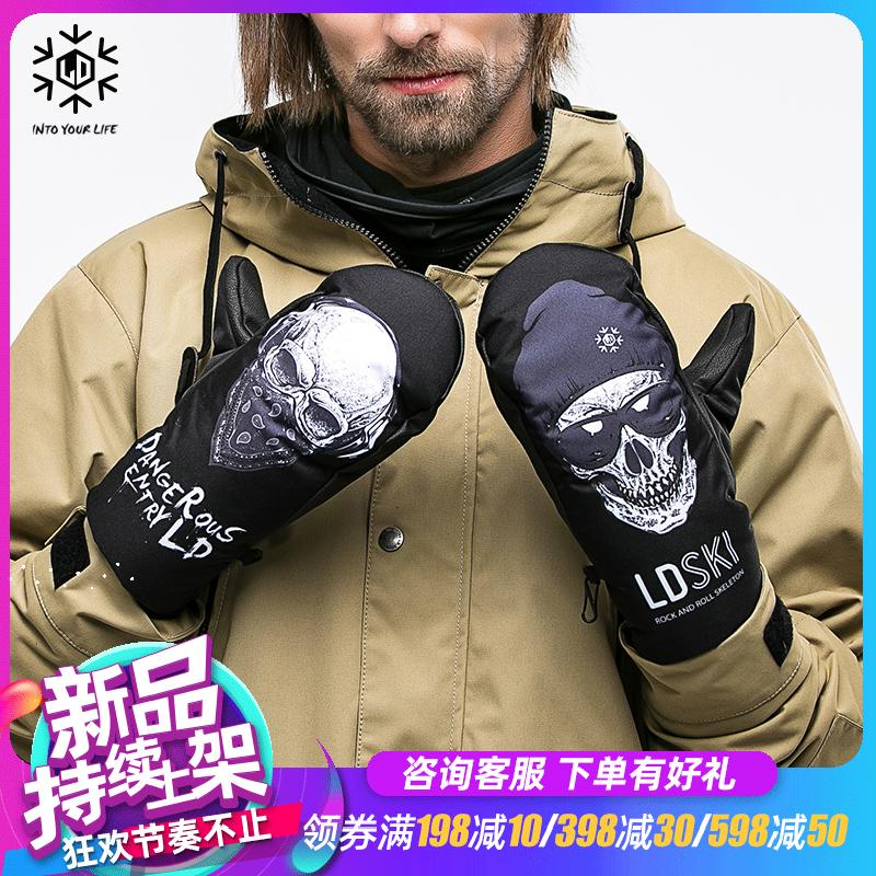 LDski滑雪手套耐磨保暖男女儿童亲子款装备防水加厚内五指闷子