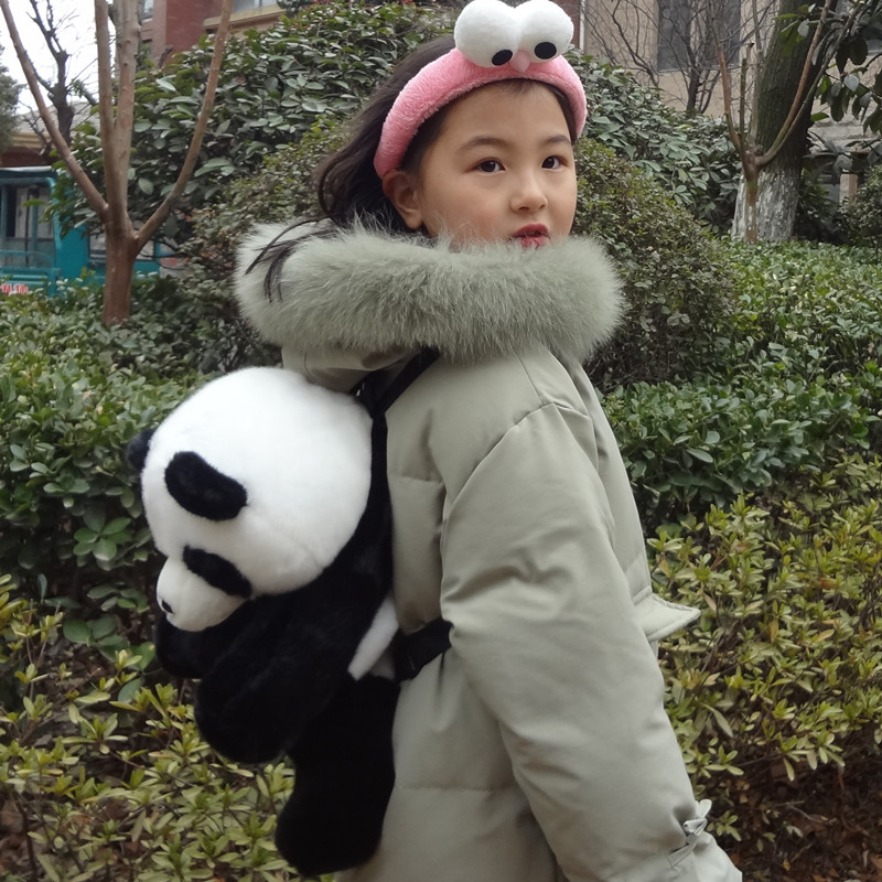 Panda doll childrens backpack double shoulder bag boys and girls students cute plush toy friends