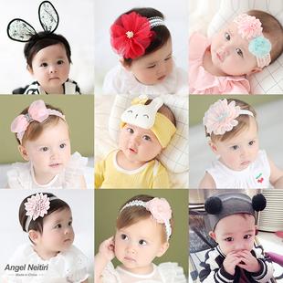 超萌嬰兒髮帶頭飾小公主嬰幼兒韓國新生兒女寶寶護滷門兒童髮飾夏