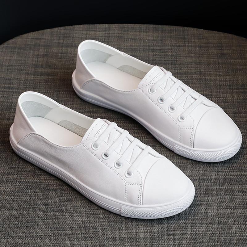 头层牛皮小白鞋女两穿2021年新款四季百搭韩版旅游懒人鞋轻便单鞋