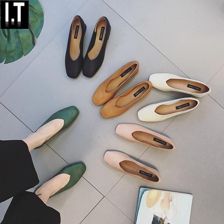 香港代购韩版奶奶鞋粗跟软皮单鞋女春新款女鞋复古方中跟鞋2018