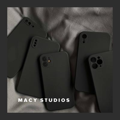 经典黑色适用13苹果11手机壳12mini液态硅胶12promax直边方形xs软