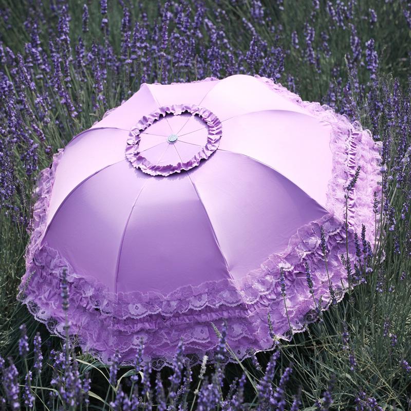 西湖遮阳伞太阳伞防紫外线女黑胶防晒韩国蕾丝公主折叠晴雨伞超轻