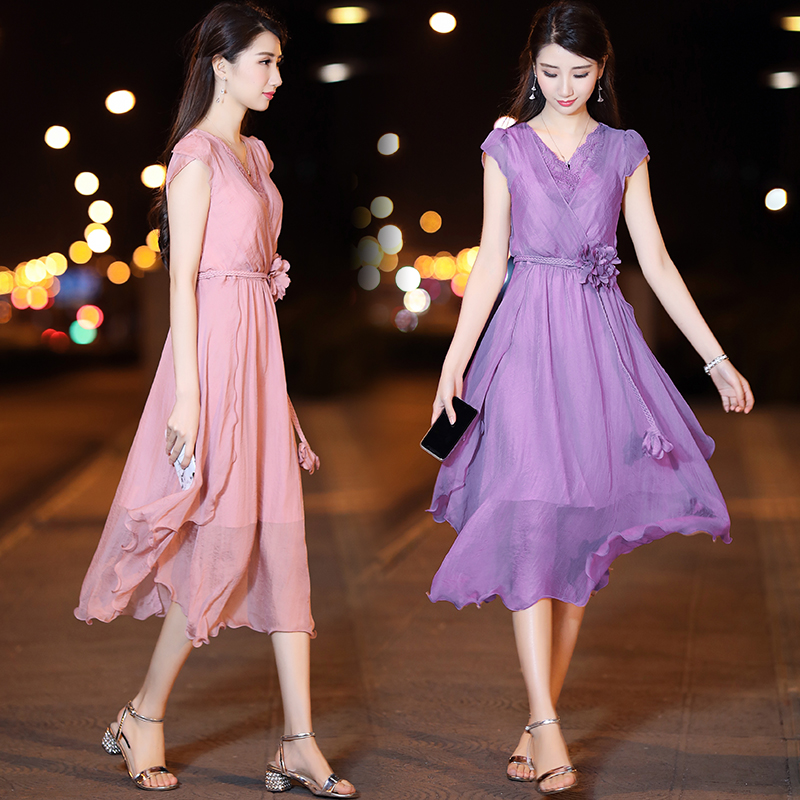 Skirt 2021 new Chiffon sleeveless dress womens summer mid long skirt slim temperament V-neck