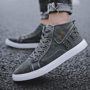 2019秋季男生帆布鞋男士6牛仔布鞋