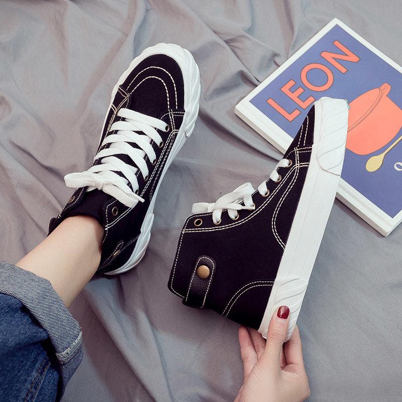 秋季新款韩版高帮帆布女鞋百搭学生黑色布鞋网红板鞋潮鞋秋鞋414p