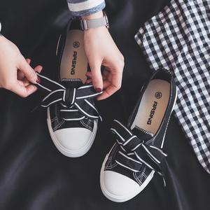 2018夏新款韩版百搭学生休闲布鞋板鞋小白鞋透气浅口帆布鞋女鞋88