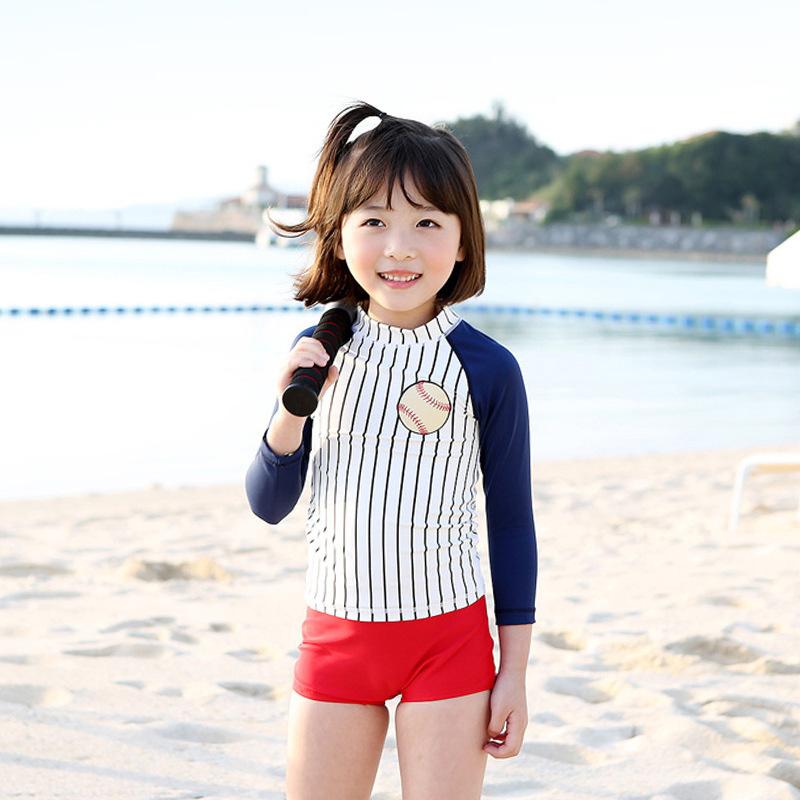 新款防晒大童儿童泳衣时尚日系棒球宝贝女童游泳衣三件套分体泳装12月01日最新优惠
