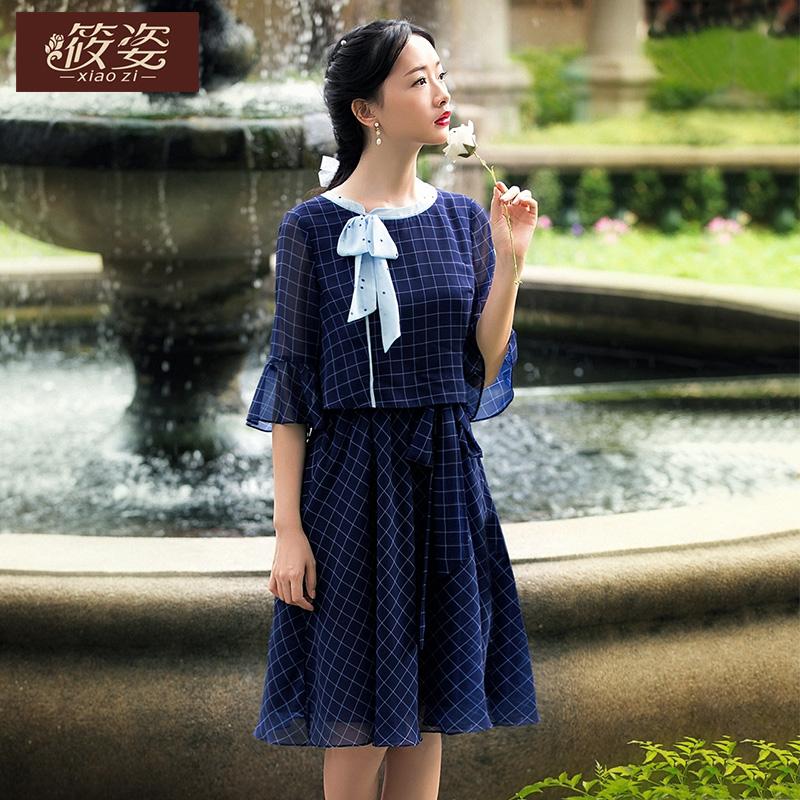 筱姿服饰2018春文艺女装复古蝴蝶结格子雪纺假两件连衣中裙