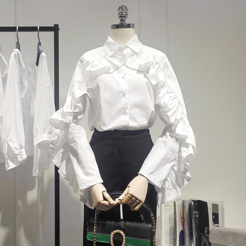 韩国东大门2018秋季新款荷叶边长袖衬衫女甜美百搭白色衬衣潮D24